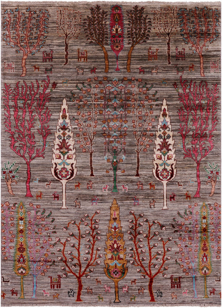"Tribal Persian Gabbeh Hand Knotted Wool Rug - 4' 10"" X 6' 8"" - Golden Nile"