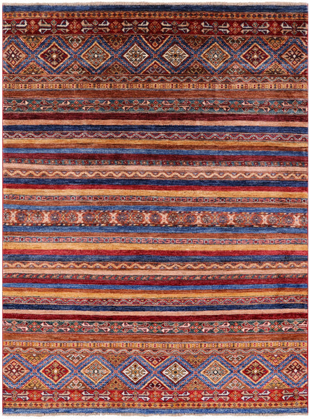 "Khorjin Persian Gabbeh Hand Knotted Wool Rug - 5' 1"" X 6' 10"" - Golden Nile"