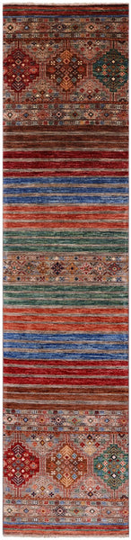 "Khorjin Persian Gabbeh Hand Knotted Wool Runner Rug - 2' 4"" X 10' 2"" - Golden Nile"