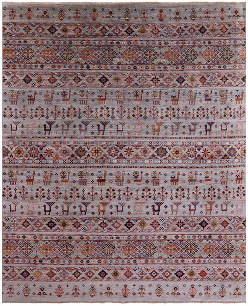 "Tribal Persian Gabbeh Hand Knotted Wool Rug - 8' X 9' 9"" - Golden Nile"