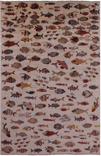 "Fish Design Persian Gabbeh Handmade Wool Rug - 6' 5"" X 9' 8"" - Golden Nile"