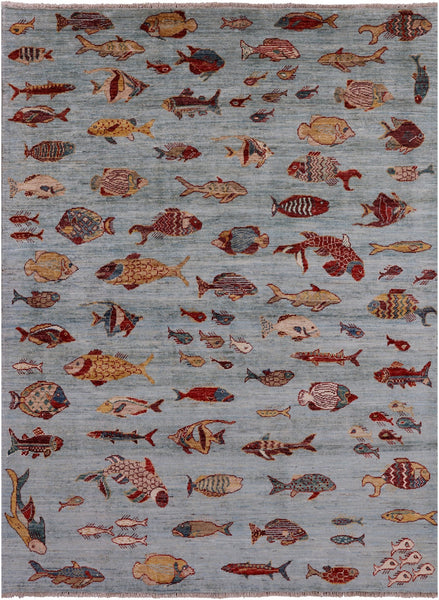 "Fish Design Persian Ganbbeh Hand Knotted Wool Rug - 4' 11"" X 6' 7"" - Golden Nile"