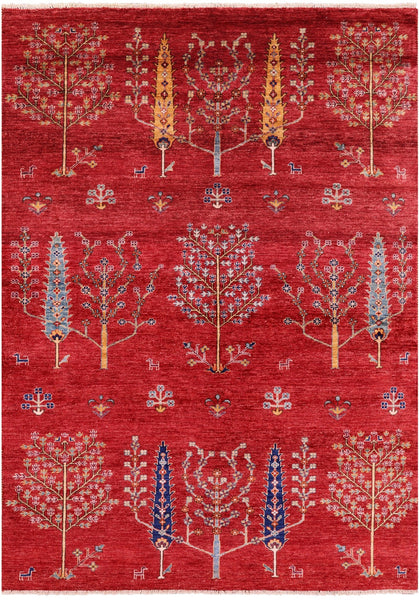 "Tribal Persian Gabbeh Hand Knotted Wool Rug - 5' 7"" X 7' 10"" - Golden Nile"