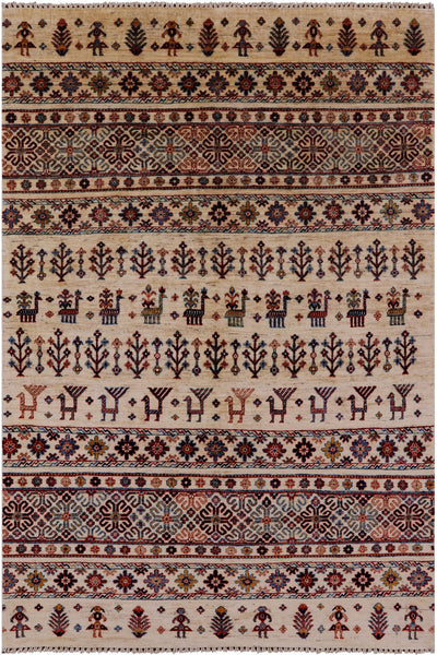 "Tribal Persian Gabbeh Hand Knotted Wool Rug - 4' 10"" X 7' 3"" - Golden Nile"