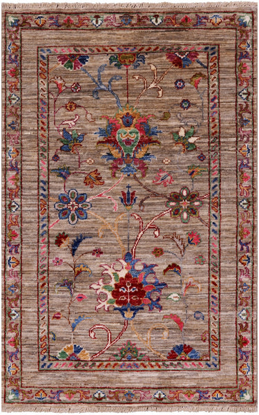 "Peshawar Hand Knotted Wool Rug - 2' 7"" X 4' - Golden Nile"