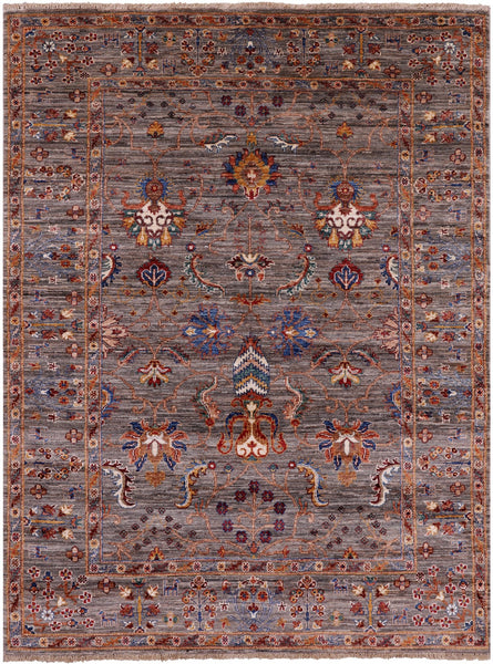 "Peshawar Hand Knotted Wool Rug - 5' X 6' 8"" - Golden Nile"