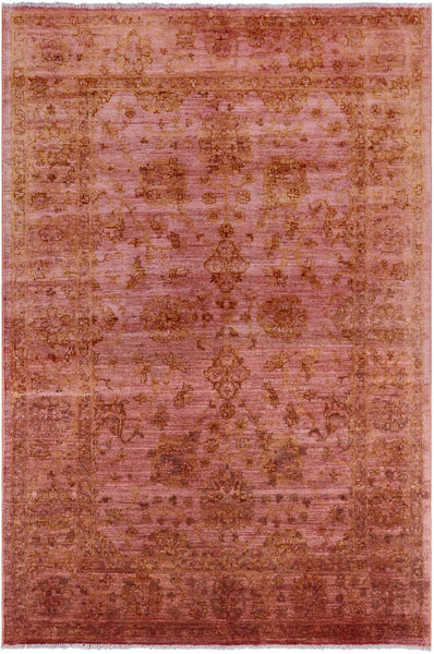 "Overdyed Full Pile Hand Knotted Wool Rug - 4' 1"" X 6' 1"" - Golden Nile"