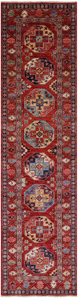"Turkmen Ersari Hand Knotted Wool Runner Rug - 2' 9"" X 11' 2"" - Golden Nile"