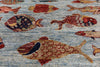 "Fish Design Persian Ganbbeh Hand Knotted Wool Rug - 2' 9"" X 4' 1"" - Golden Nile"
