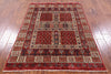 "Tribal Persian Gabbeh Hand Knotted Wool Rug - 4' 1"" X 5' 8"" - Golden Nile"