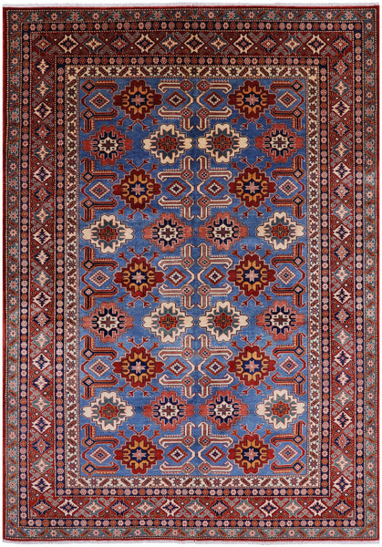 "Super Kazak Hand Knotted Wool Rug - 6' 2"" X 8' 7"" - Golden Nile"