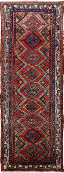 New Persian Hamadan Hand Knotted 4 X 10 Runner Rug -  Golden Nile