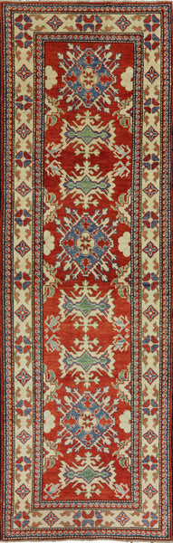 3 X 9 Hand Knotted Runner Super Kazek Rug -  Golden Nile