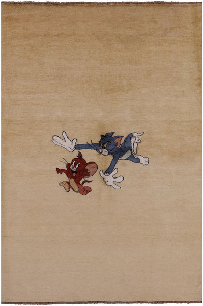 "Tom & Jerry Gabbeh Wool Rug - 5' 7"" X 8' 2"" - Golden Nile"