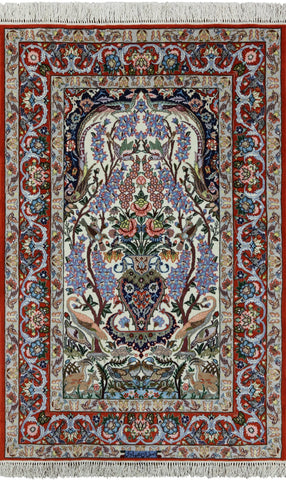 Signed Isfahan Authentic Persian Hand Knotted Area Rug - 3' 9