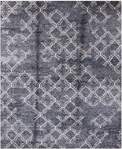 "Abstract Hand Knotted Silk Rug - 8' 3"" X 10' - Golden Nile"