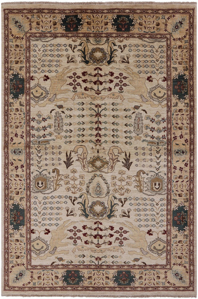 "Peshawar Hand Knotted Area Rug - 6' 1"" X 9' - Golden Nile"