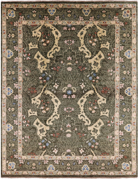 "Suzani Handmade Wool Area Rug - 8' X 10' 5"" - Golden Nile"