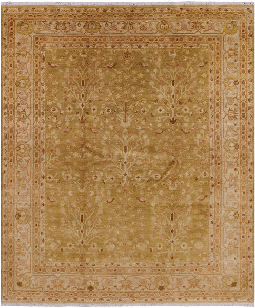 8 X 10 Hand Knotted Wool Oriental Chobi Peshawar Rug - Golden Nile