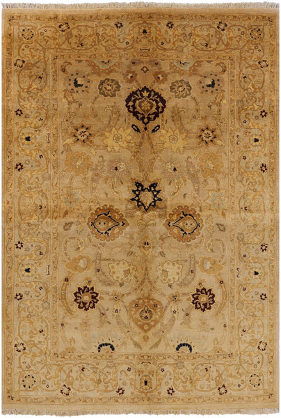 6 X 9 Oriental Hand Knotted Ivory Peshawar Rug - Golden Nile