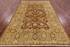 6 X 9 Chobi Peshawar Brown Oriental Wool Rug - Golden Nile