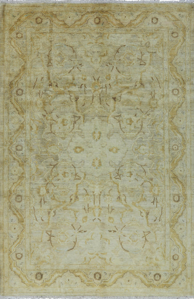 6 X 9 Ivory Peshawar Wool Rug - Golden Nile
