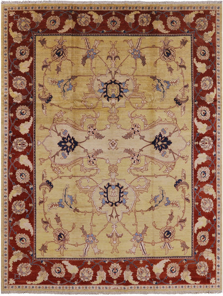 "Signed Peshawar Area Rug - 9' 2"" X 11' 10"" - Golden Nile"