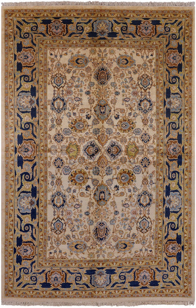 "Peshawar Hand Knotted Rug - 6' X 9' 1"" - Golden Nile"