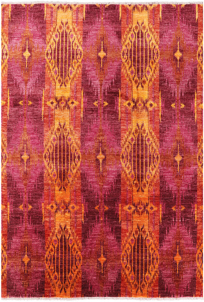 "Ikat Hand Knotted Wool Area Rug - 9' X 12' 9"" - Golden Nile"