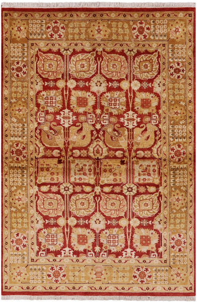 "Peshawar Hand Knotted Rug - 4' 1"" X 5' 10"" - Golden Nile"