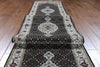 3 X 25 Wool & Silk Black & White Floral Tabriz Rug -  Golden Nile