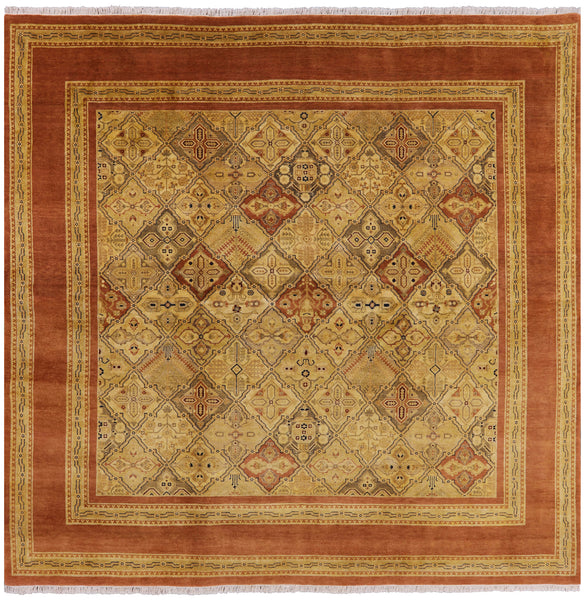 9' Square Peshawar Rug - Golden Nile