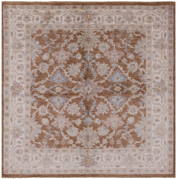 "Square Peshawar Hand Knotted Rug - 6' 2"" X 6' 3"" - Golden Nile"