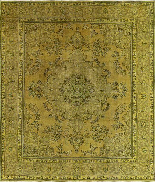 10 X 11 Oriental Overdyed Tabriz Design Area Rug -  Golden Nile