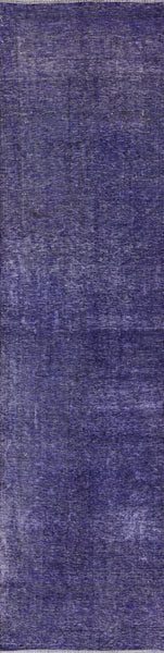 3 X 10 Purple Handmade Overdyed Wool Runner - 7Rugs - 1