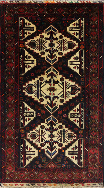 3 X 6 Persian Balouch Wool On Wool Traditional Area Rug - 7Rugs - 1