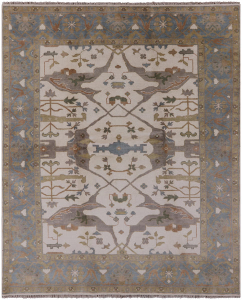 Hand Knotted Turkish Oushak Rug - 8' X 10' - Golden Nile