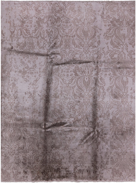 "Modern Hand-Knotted Silk Rug - 8' 10"" X 11' 9'' - Golden Nile"