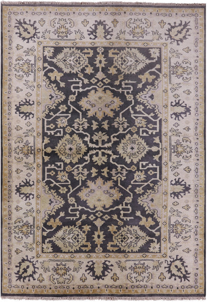 "Oushak Hand Knotted Wool Rug - 6' X 8' 8"" - Golden Nile"