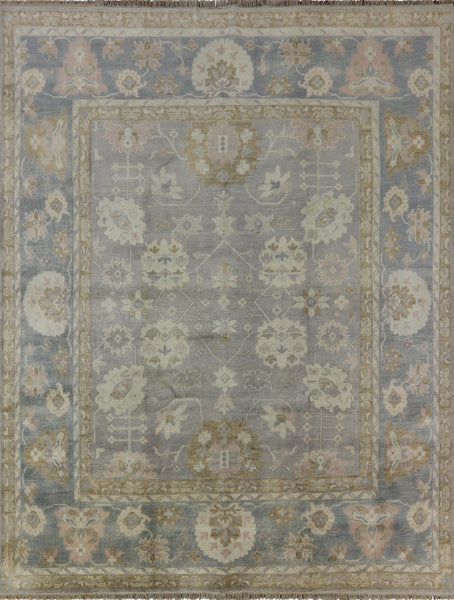 Oushak Grey/Blue Hand Knotted Wool Area Rug 9 X 12 - Golden Nile