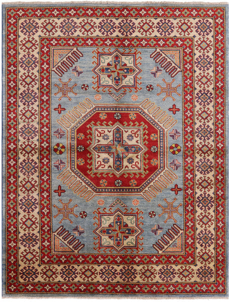 "Kazak Hand Knotted Rug - 5' 10"" X 7' 5"" - Golden Nile"