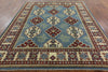 9' Blue Square Kazak Rug - Golden Nile