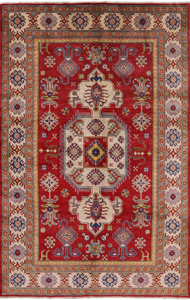 "Kazak Hand Knotted Wool Area Rug - 6' 8"" X 10' 4"" - Golden Nile"