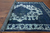 Blue Floral Over-dyed Rug 8 X 11 - Golden Nile