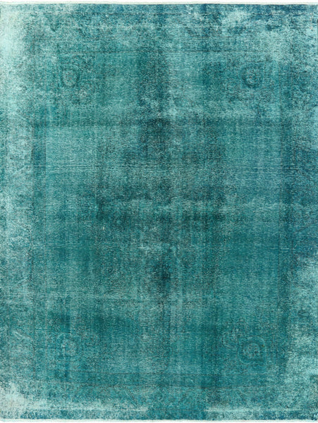 Veg Dyed Blue-Green 9 X 12 Over-dyed Rug - Golden Nile