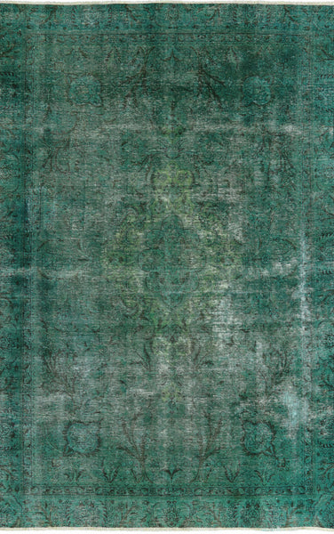 7 X 10 Green Oriental Over-dyed Rug - Golden Nile
