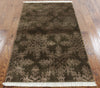 Tibetan Brown Wool & Silk Floral Area Rug 3 X 5 - Golden Nile
