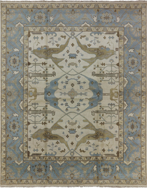 Oushak Hand Knotted Wool Rug 8 X 10 - Golden Nile