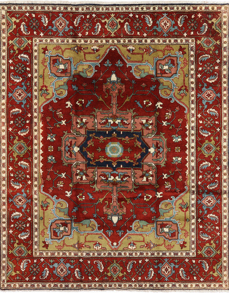 Heriz Serapi Medallion Design Area Rug 8 X 10 - Golden Nile