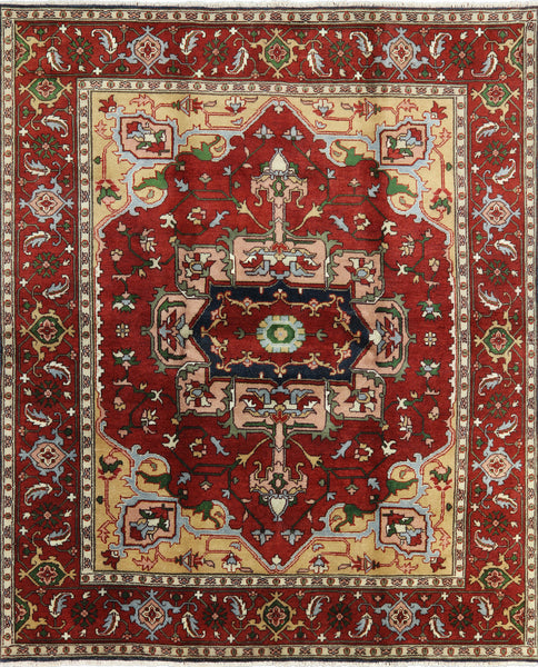 Red Heriz Serapi Oriental Wool Rug 8 X 10 - Golden Nile